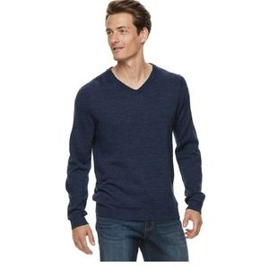 Apt 9 Men's Big & Tall Dark Blue Wool V Neck XLT